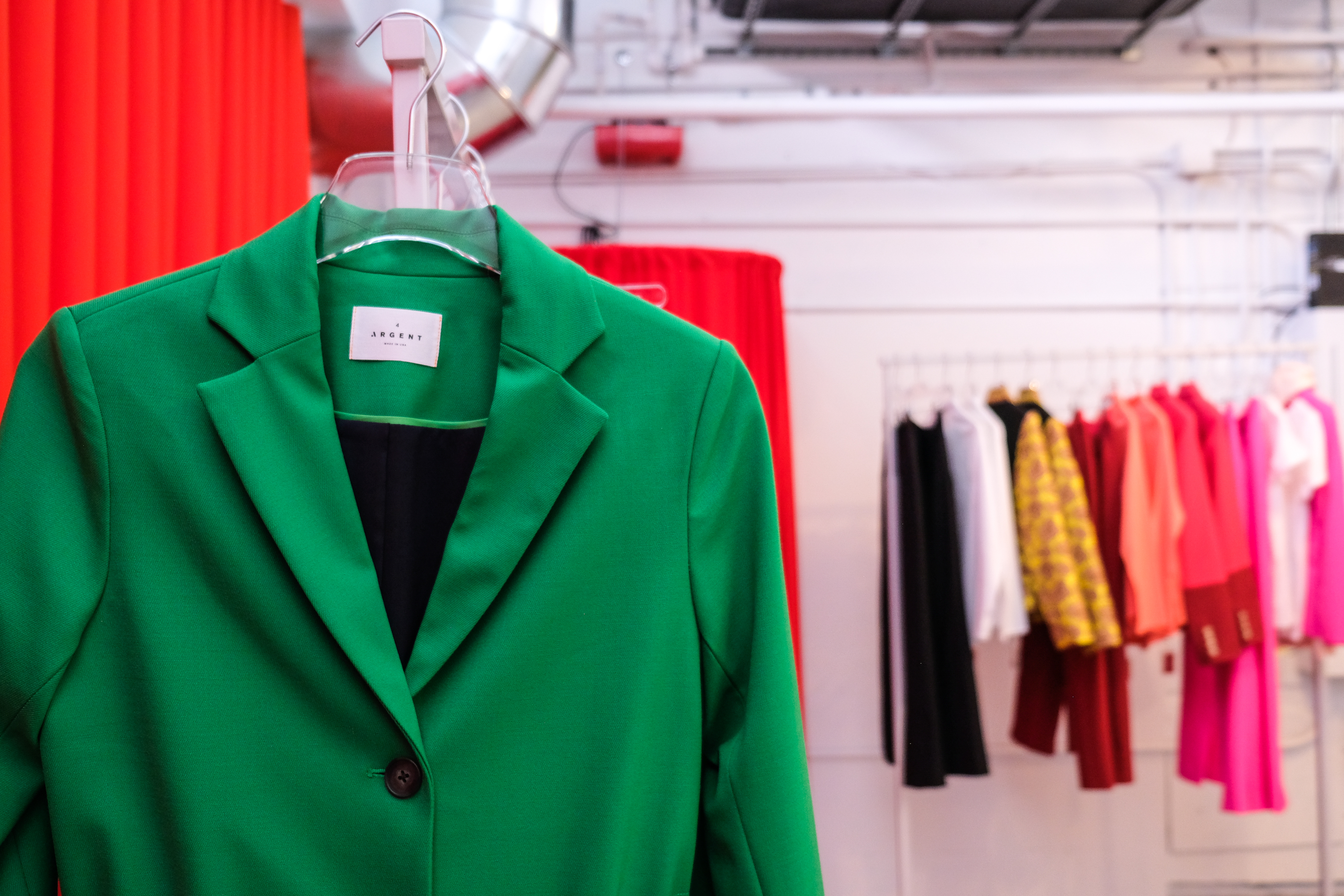 Cinch-waist green blazer by women's workwear suit company Argent by female founder Sali Christeson