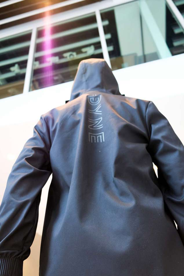 long jacket by Dyne performance brand at NYFW debut NFC bluebite technology on The Majority Group