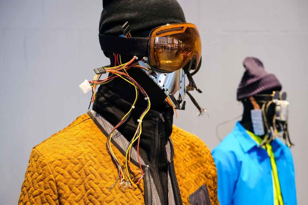 orange and blue jackets by Dyne performance brand at NYFW debut NFC bluebite technology on The Majority Group